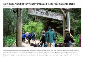 Screenshot of the New opportunities for visually impaired visitors at national parks article
