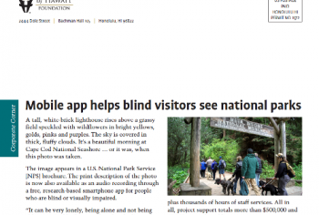 Screenshot of the Mobile app helps blind visitors see national parks article