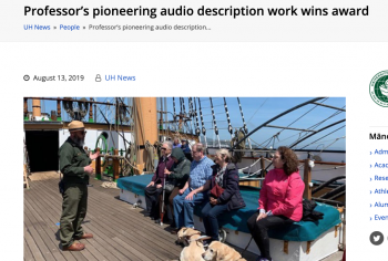 Screenshot of the Professor's pioneering audio description work wins award article