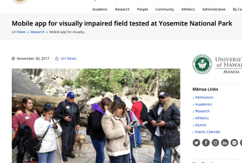 Screenshot of the Mobile app for visually impaired field tested at Yosemite National Park article