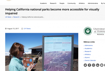 Screenshot of the Helping California national parks become more accessible for visually impaired article
