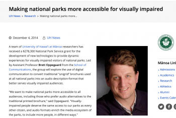 Screenshot of the Making national parks more accessible for visually impaired article