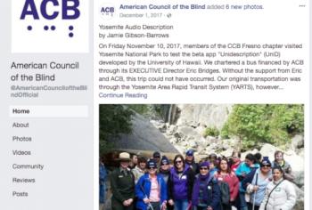 Screenshot of the Yosemite Audio Description article