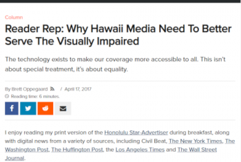 Screenshot of the Reader Rep: Why Hawaii Media Need To Better Serve The Visually Impaired article