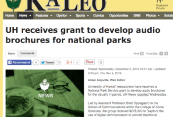 Screenshot of the UH receives grant to develop audio brochures for national parks article