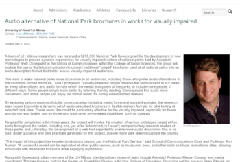 Screenshot of the Audio alternative of National Park brochures in works for visually impaired article