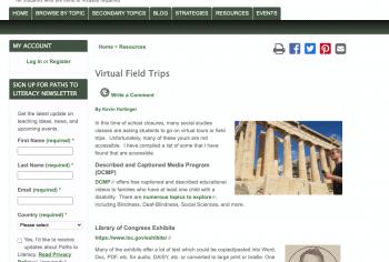 Screenshot of the Virtual Field Trips article